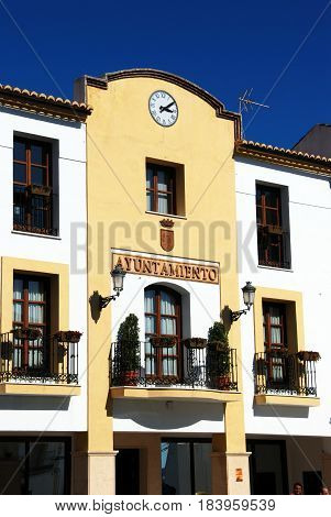 ALOZAINA, SPAIN - OCTOBER 29, 2008 - Front view of the town hall Alozaina Malaga Province Andalusia Spain Western Europe, October 29, 2008.