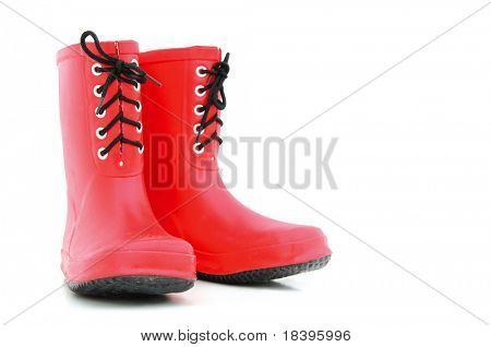 Rote Gummistiefel mit Boot-Schnürsenkel für Kinder, isolated on white background