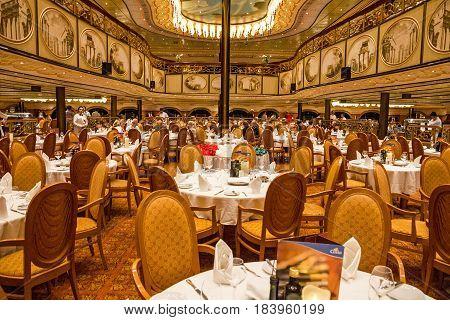 Cruiise liner Costa Mediterranea - April 5, 2017: Interior of restaurant dinner hall of cruiise liner Costa Mediterranea