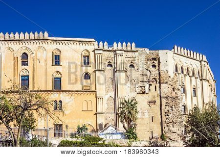 Palermo Parlament building Sicily Italy. Palazzo dei Normanni Royal Palace. Palazzo Reale