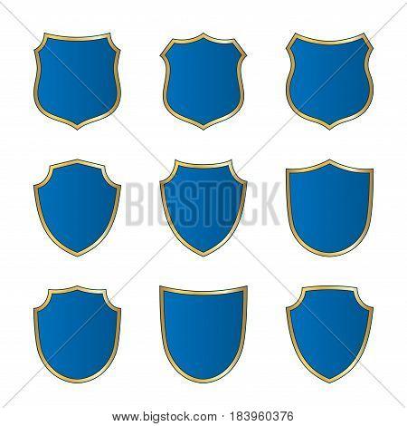 Shield Gold Blue Icons Set Shape Emblem