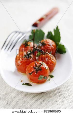 roast cherry tomatoes on the vine