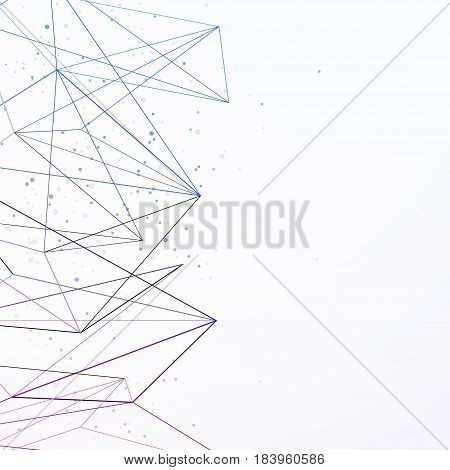 Modern science geometrical background with connecting lines. Network connection concept revealed with particle dust. Vector illustration