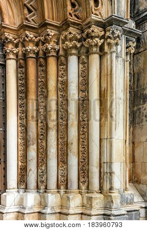 Carving on a stone in Batalha Dominican medieval monastery Portugal - great masterpieces of Gothic art. UNESCO World Heritage