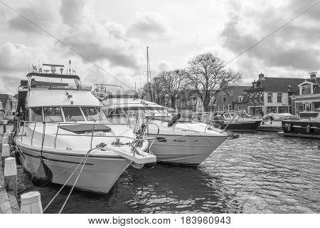 NETHERLANDS - LEMMER - MEDIA APRIL 2017: Pleasure yachts in the port of Lemmer in Friesland Netherlands.