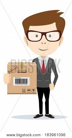 Smiling young delivery man holding and carrying a cardbox isolated on white background. Stock flat vector illustration.