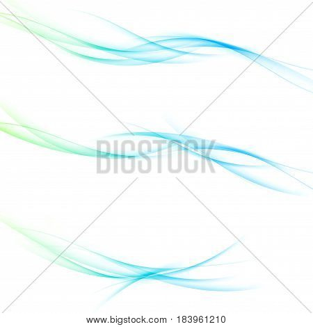 Abstract soft speed futuristic swoosh wave. Three minimalistic divider swoosh lines in gradient green to blue color. Vector illustration