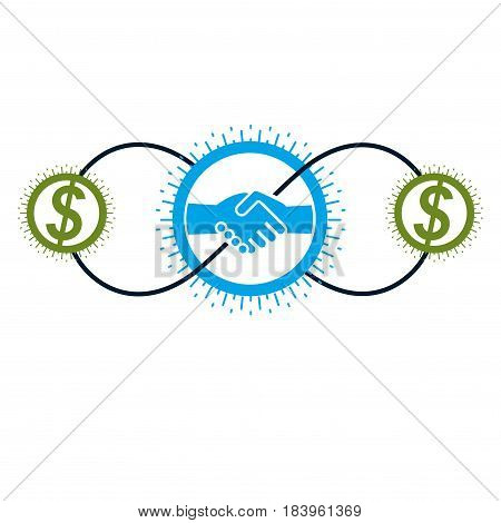 Successful Business and Leader creative logo handshake pact sign vector conceptual symbol isolated on white background. Special and unique sign.