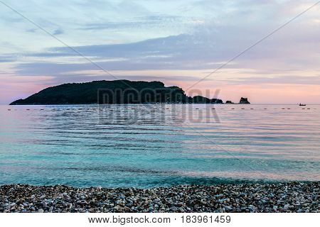 Island in the sea beach sunset view