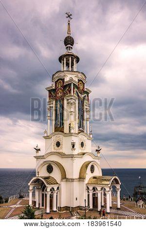 Yalta, Crimea - April 21, 2017: Orthodox church Crimea Russia. Museum - lighthouse near Yalta. Monument to lost seamen