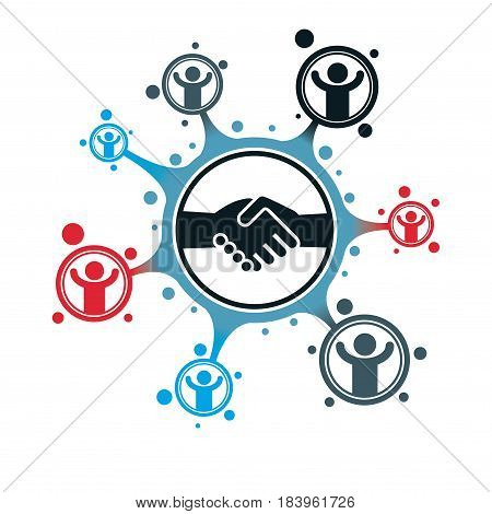 Successful Business creative logo handshake deal sign vector conceptual symbol isolated on white background. Special and unique sign.