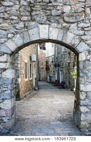 Narrow street of old town in Budva, Montenegro.