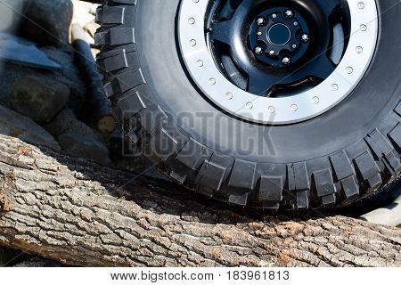 closeup of large offroad tire climbing a wood tree trunk