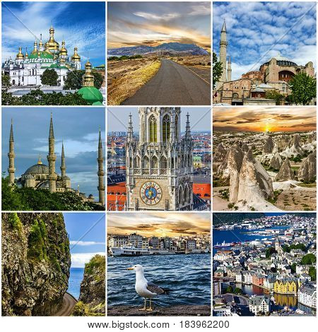 Travel collage. European landmarks. Portugal Madeira Istanbul Turkey Cappadocia Kiev Ukraine Germany Bavaria Norway