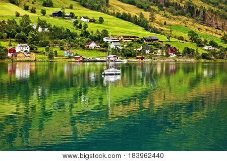 Norway - natural landscape Scandinavia. Olden village in Norwegian fjords.