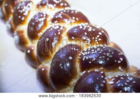 Braided loaf of bread it's a hungarian specialty. Shallow depth of fields