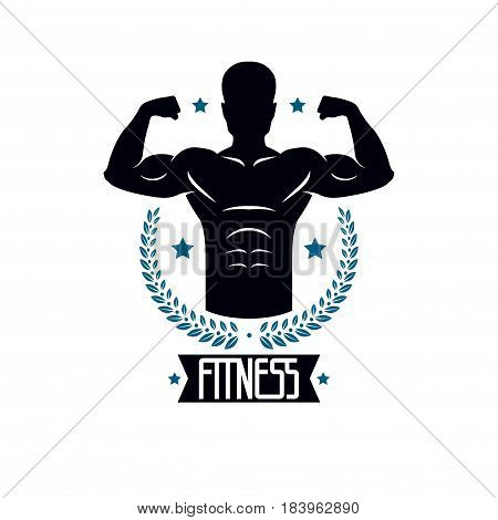 Bodybuilding and fitness sport logo templates vintage style vector emblem. With bodybuilder silhouette.
