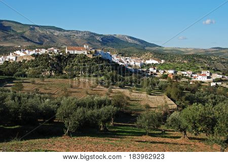 View of the white village and surrounding countryside El Burgo Malaga Province Andalusia Spain Western Europe.