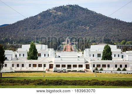 Old Parliament House, Canberra, Australia, towards the Australian War Memorial