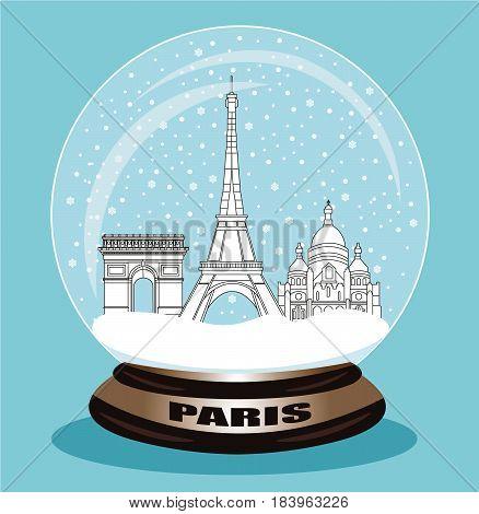 Paris City snow globe. Flat style vector illustration.