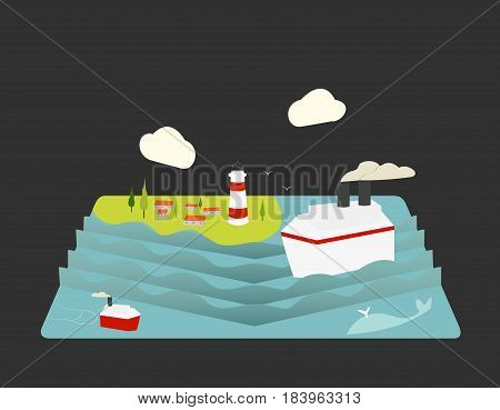 Color vector flat icon set and illustration summertime: village sun clouds trees nature sea boat sail fishing