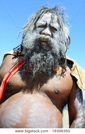 KATOOMBA, AUSTRAILIA - NOV 26: An unidentified aboriginal man on Nov 26, 2009 in Katoomba, Australia.