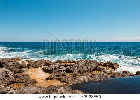 Rocky coast at St Julians Malta EU