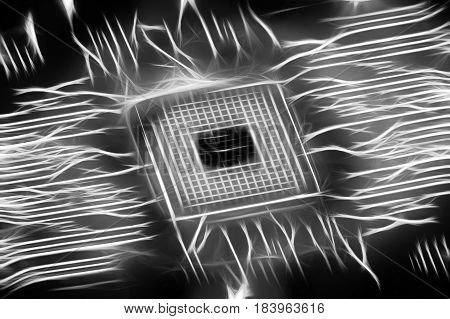 Glowing cpu on motherboard computer generated abstract background black ahd white 3D rendering