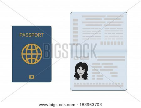 Vector illustration set of the passport in closed and open view.