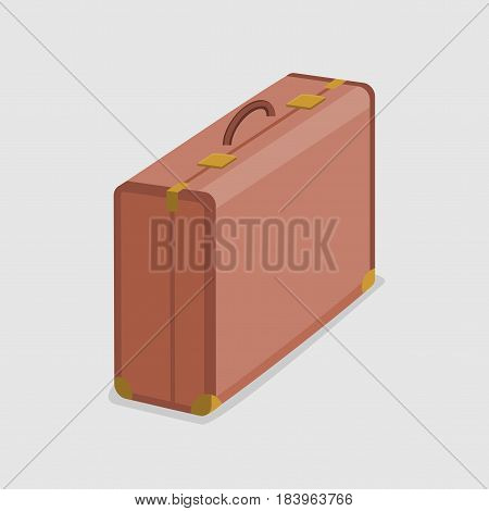Vector illustration of durable and sturdy brown suitcase isolated on a white background.
