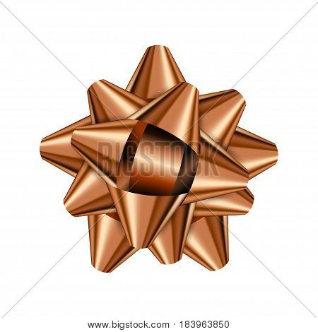 Bronze holiday bow on white background. Vector illustration for your design