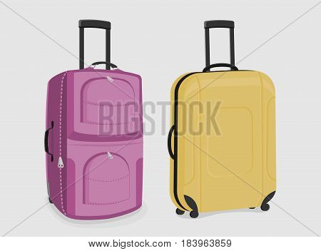 Two sturdy suitcases of pink and yellow colour isolated on white background.