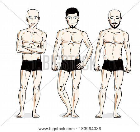 Handsome Men Group Standing In Black Underwear. Vector Characters Set.