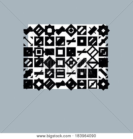 Abstract geometric monochrome composition vector digital background.