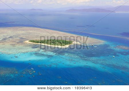 Green Island at Great Barrier Reef near Cairns Australia seen from above