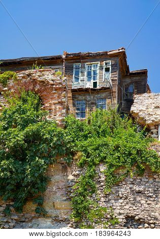The Old Wooden House On The Hill In The Historic Part Of Istanbul