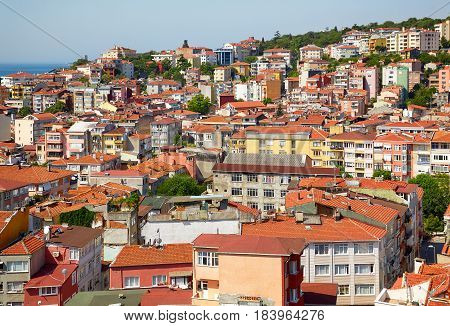 Red Roofs Of Residential Houses On The Shore Of The Bosphorus, Istanbul