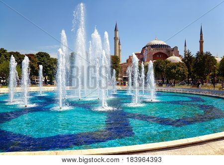 The Fontain  In Sultan Ahmet Park With Hagia Sophia In The Background.