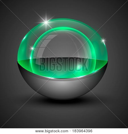 Vector illustration of clear orb illuminated with blue with gray bottom.