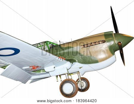P-40 Kittyhawk World War Two fighter plane, isolated on white