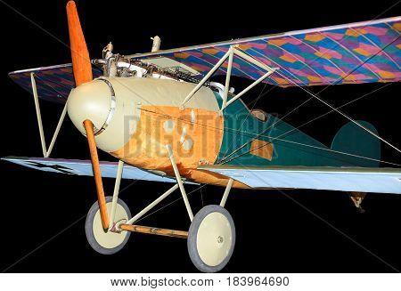 German Albatros World War One fighter plane, isolated on black