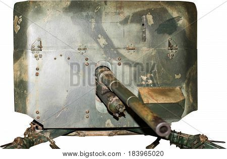 Armoured gun emplacement from World War Two, isolated on white