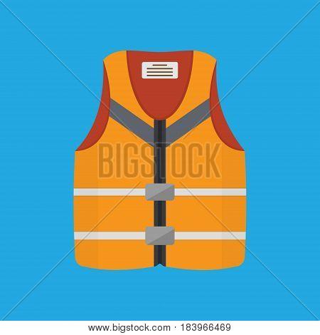 Orange life safety jacket on blue background. Flat style vector illustration.