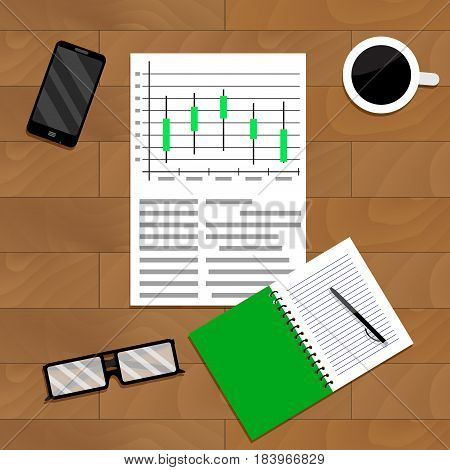 Exchange analyst forecast. Exchange trade swap vector money exchange chart illustration
