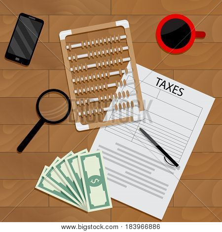 Annual tax account. Accounting tax forms vector taxation calculator finance taxes money illustration