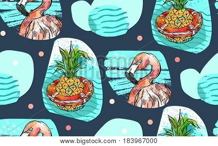 Hand drawn vector abstract textured summer time seamless pattern with pink tropical flamingo, pineapple in lifebuoy and sea waves isolated on color background.Fashion fabric, wedding, birthday, decoration
