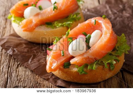 Sandwiches With Salted Salmon, Mozzarella, Frisee, Onion And Radish Close-up. Horizontal