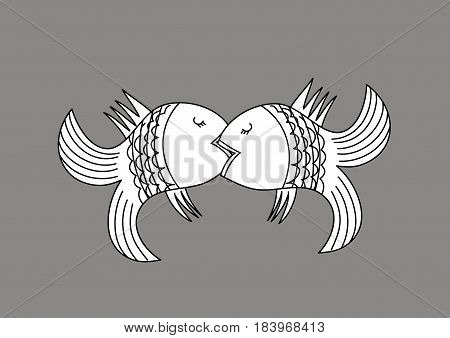 Kissing fish. Vector illustration with the image of kissing fish