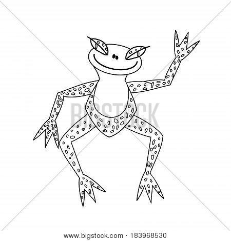 merry frog. cute vector line illustration sketch