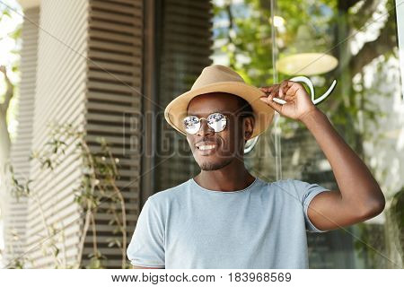 People, Leisure And Lifestyle Concept. Happy And Relaxed Young Black European Man In Stylish Clothin
